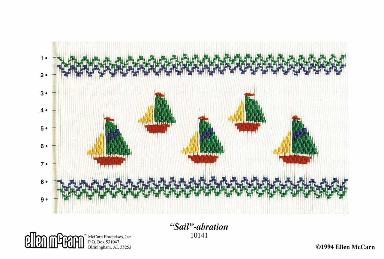Sail-abration is an easy picture smocking plate, suitable for beginners, 5 small multi coloured yachts, or just put one on a pocket