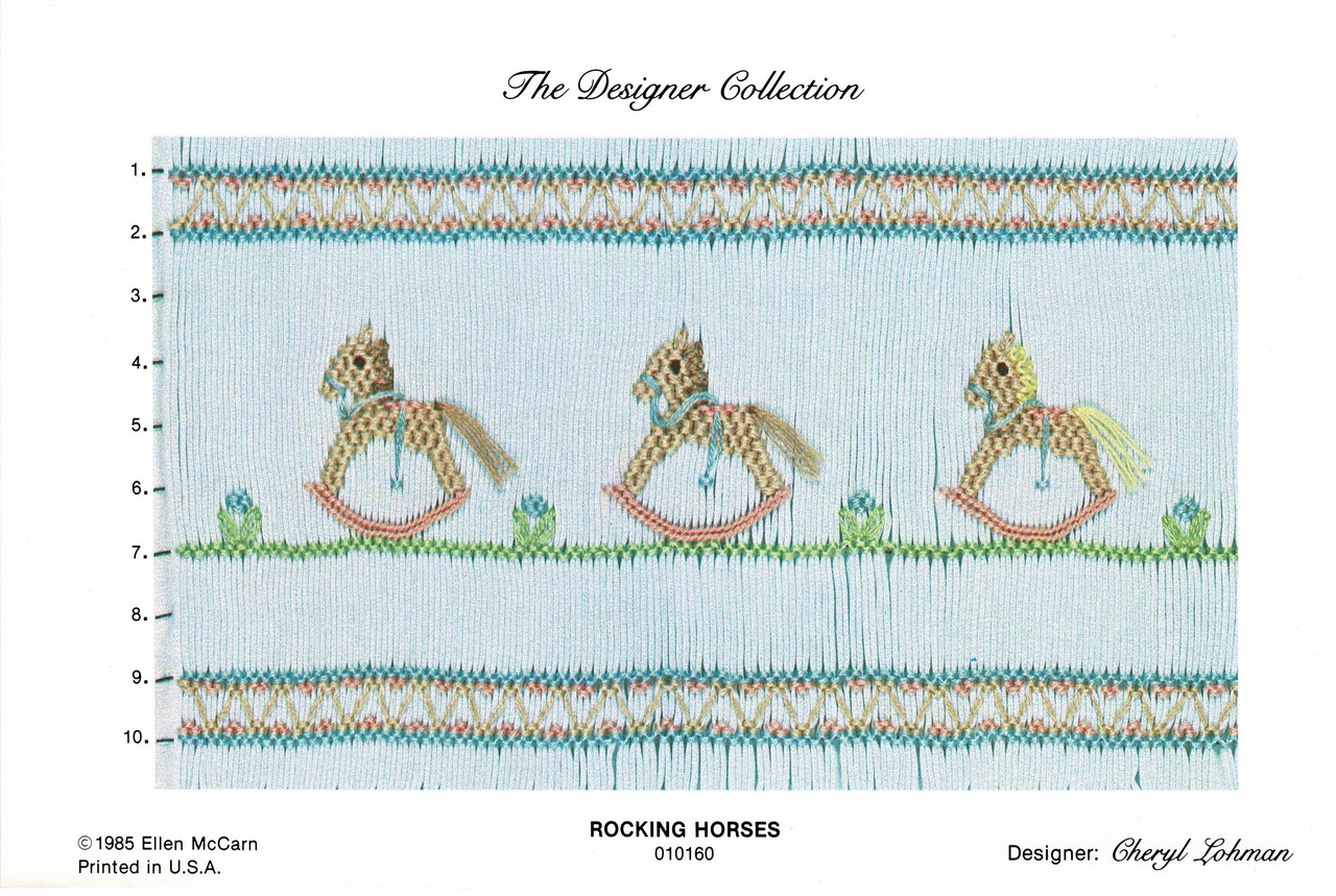 Rocking Horses picture smocking plate by Ellen McCarn, A really pretty picture smocking plate, Ideal for baby wear or dresses, Some experience needed