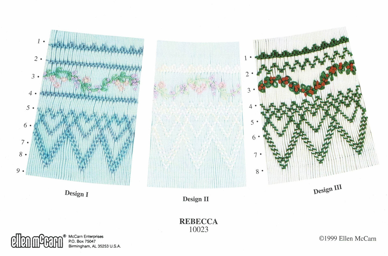 Rebecca has four smocking designs by Ellen McCarn, Three suitable for a bishop neckline, One suitable for a square yoke, Lovely garland detail, Some experience needed