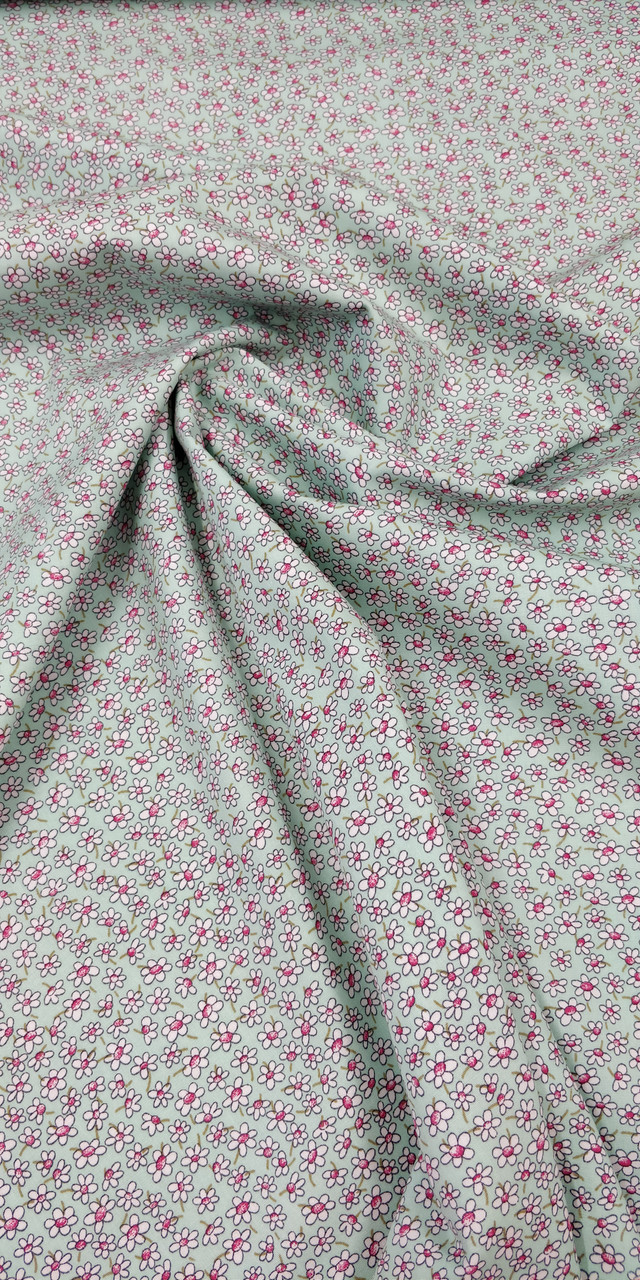 """Rose & Hubble 100% cotton poplin, Seafoam coloured background with daisy print design, 110 cm wide 45"""", Ideal for dresses, blouses, shorts etc,  Wash at 30 degrees - Priced per metre"""