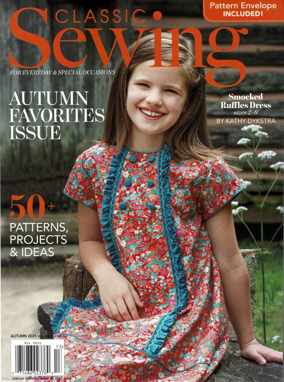 Classic Sewing Magazine Autumn 2021, Lots of lovely smocking in this issue,  Choose from, The tiniest gowns for preemies, Scalloped dress 4-10 years Duck & Goose picture smocked dress, Picture smocked Squirrels, Some lovely applique ideas, Gaile Doanne jacket, Ladies blouse, Lace cushion and so much more