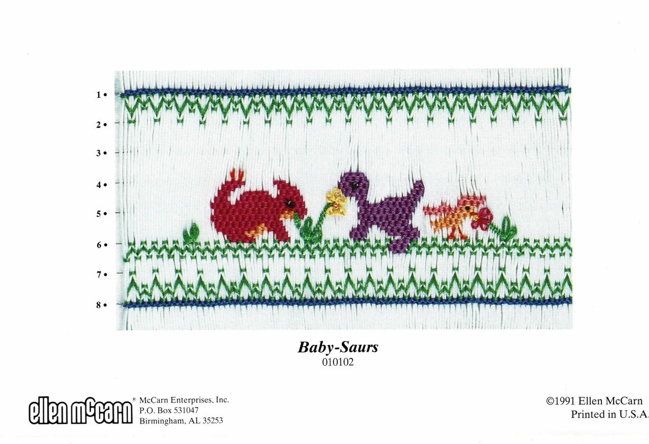 Baby-saurs smocking plate design by Ellen McCarn