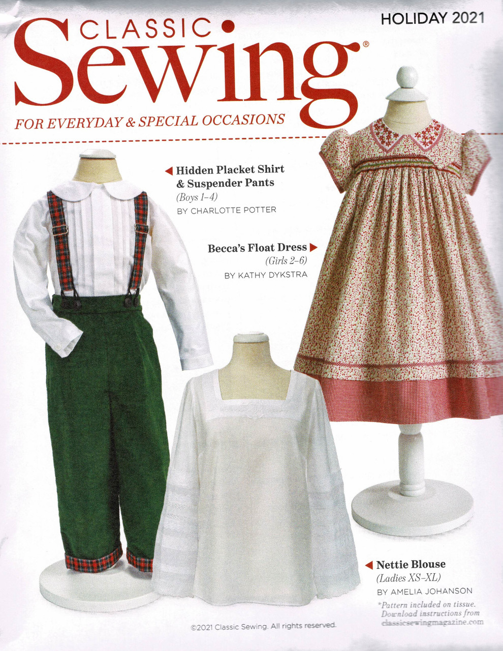 Pattern that comes with the Classic sewing magazine Holiday 2021