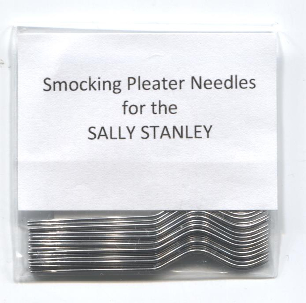 Smocking Pleater Needles suitable for the Sally Stanley Smocking Pleater - if in doubt please send one of your old needles for me to match, Pack of 24 Smocking pleater needles. See attached video on how to fit these needles - stock due 2022