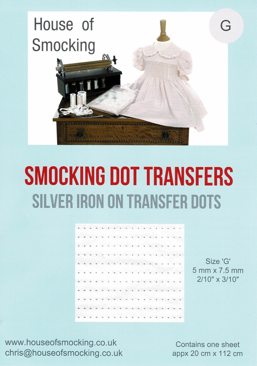 Smocking Transfer Dots I recommend size G dots for most cotton fabrics. - See video on how to use - one sheet in each pack - not designed to wash off - save money when buying more than one sheet