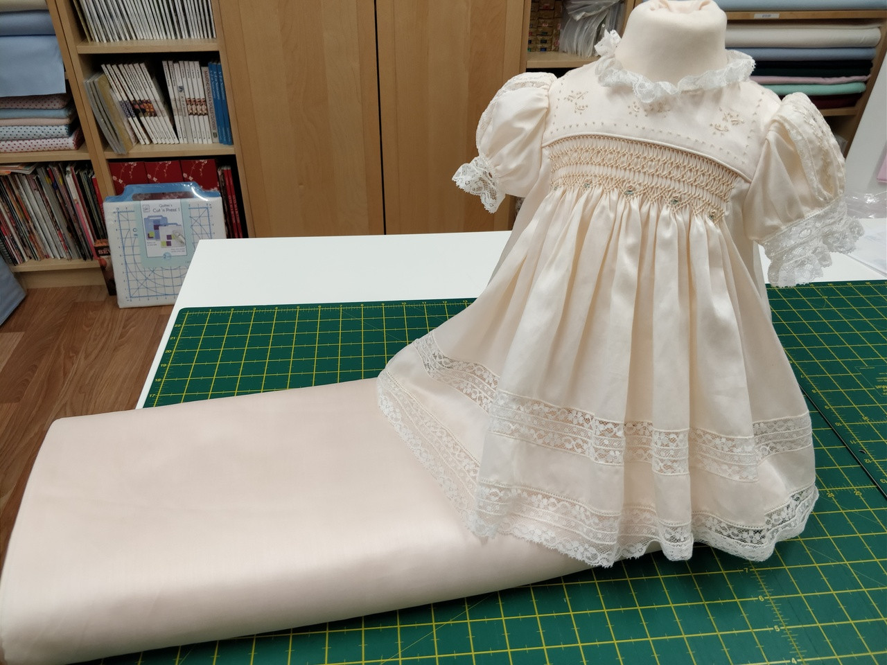 Peach satin batiste made up into Emma by Jeannie Beaumeister