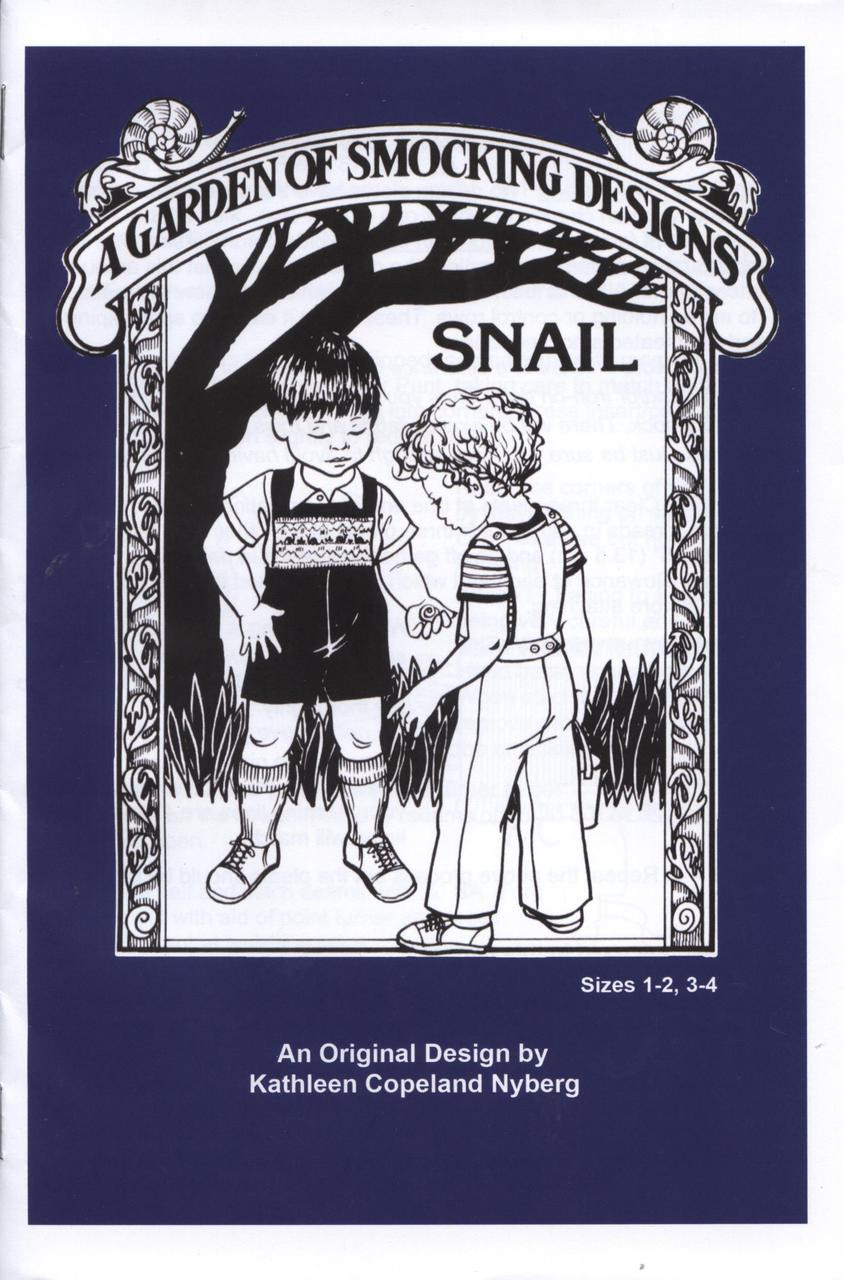 Smocked Dungaree pattern Snail by A Garden of Smocking