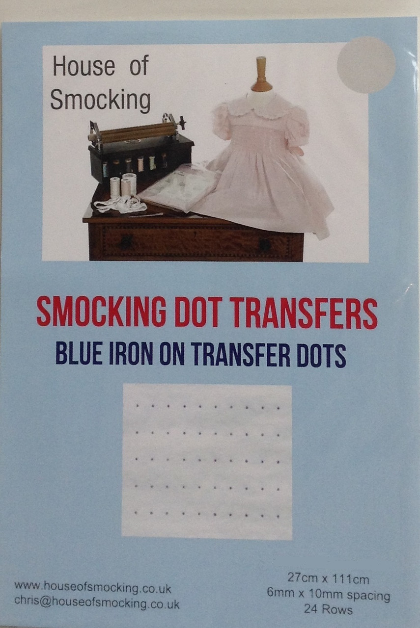 """Blue smocking dots are available in two sizes, Narrow 0.5 cm x 0.8 cm - narrow dots have 30 rows per sheet, Sheet size 24 cm x 115 cm (9"""" x 45"""") Wide 0.6 cm x 1 cm - Wide dots have 24 rows per sheet  sheet size 24 cm x 115 cm (9"""" x 45""""), Blue Smocking dot transfers are a good contrast colour for light coloured fabrics, Wide dots are pleater compatible, one sheet in each pack"""