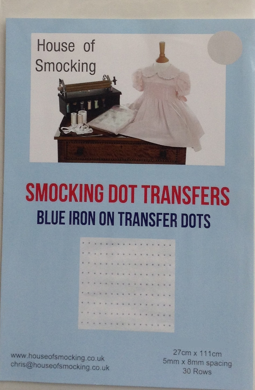 """Blue smocking dots are available in two sizes, Narrow 0.5 cm x 0.8 cm - narrow dots have 30 rows per sheet, Sheet size 24 cm x 115 cm (9"""" x 45"""") Wide 0.6 cm x 1 cm - Wide dots have 24 rows per sheet  sheet size 24 cm x 115 cm (9"""" x 45""""), Blue Smocking dot transfers are a good contrast colour for light coloured fabrics, Wide dots are pleater compatible, one sheet in each pack, not designed to wash off"""