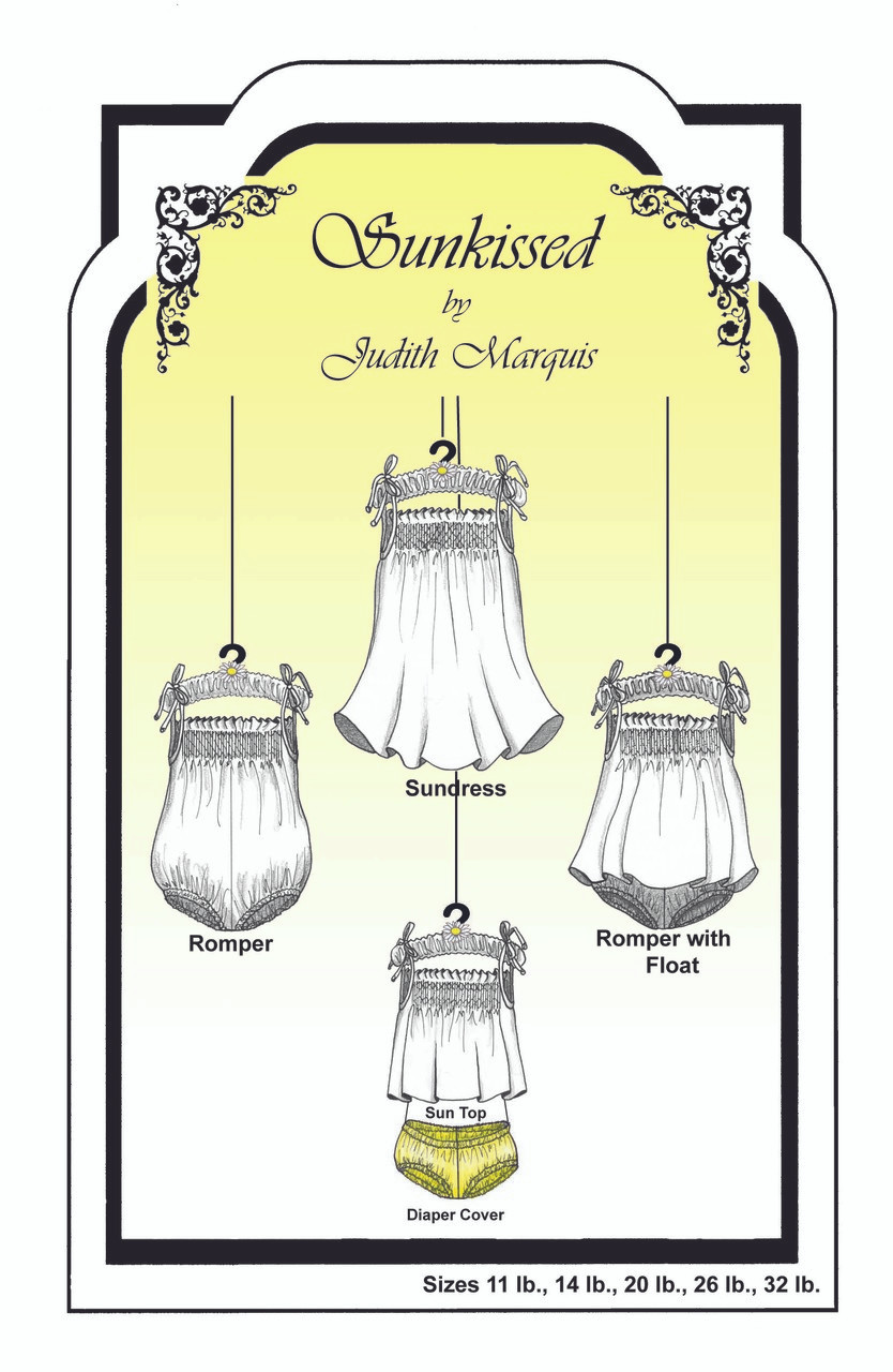 Sunkissed Sundress and Romper Smocking Pattern by Judith Marquis size 3mth - 2 years - order dots separately.  This is a sweet little sundress and romper pattern, Ideal for summer days or as nightwear, Smocking design included but no dots, Please order Blue wide or Silver size G or H dots  separately, sizes 3 months to 2 years,