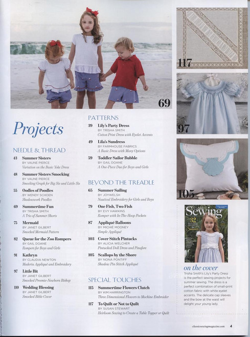 Classic Sewing Magazine Summer issue 2018 - includes two sewing patterns - Index
