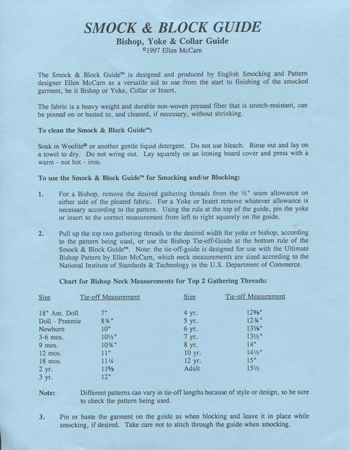 Smock & Block Bishop, Yoke & Collar Guide by Ellen McCarn - instructions