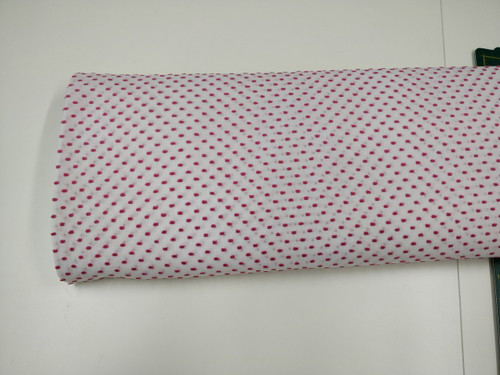 Swiss plumetis 100% cotton in white with Fuchsia cut spot 140 cm wide priced per metre - DMC 3805 matches this fabric
