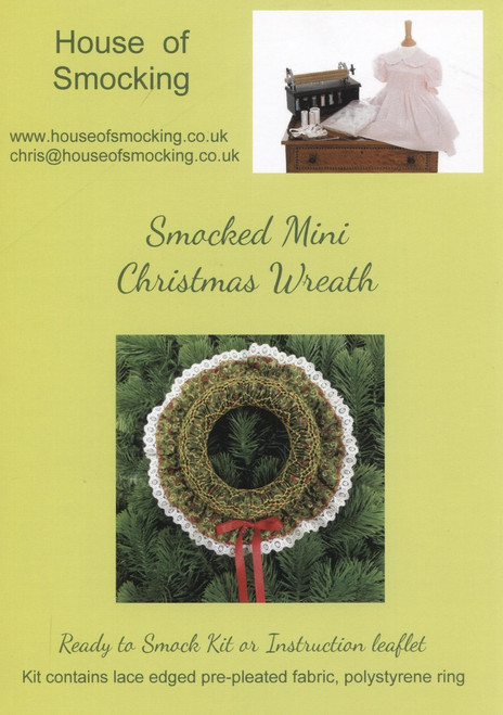Smocked Christmas Wreath Instruction Leaflet with step by step instructions, smocking design and helpful tips
