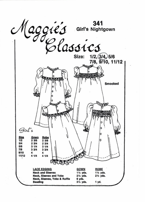 Girl's nightgown smocking pattern by Maggie's Classics, Sizes 3 and 4 years, Choose smocked or un-smocked Nightgown and Dressing gown, Experience needed and very basic instructions, Sizing is usually very good
