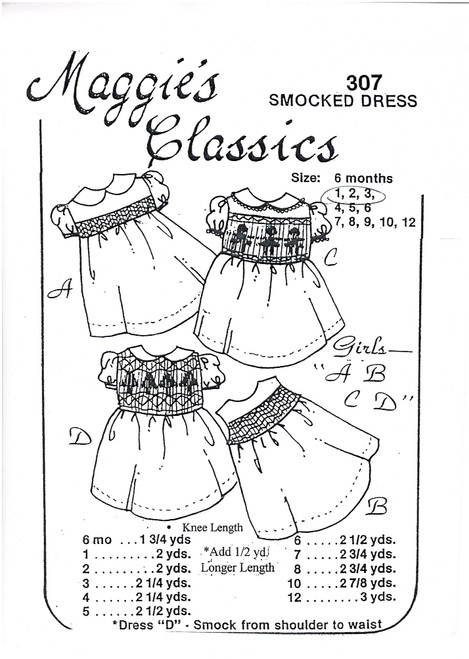 Girl's Smocked dress smocking pattern by Maggie's Classics, Sizes 6 month or 1, 2 and 3 years, choose smocked from the smoulder, yoke or narrow band, Smocked front and back, Experience needed and very basic instructions,  Sizing is usually very good