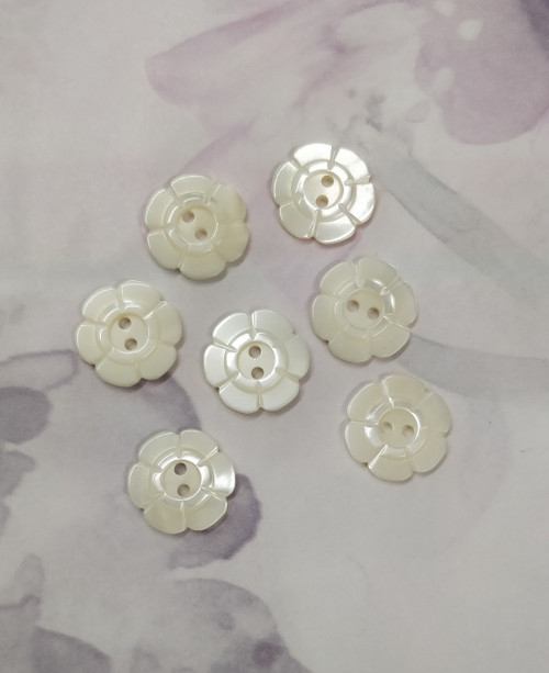 Beautiful mother of pearl buttons, Ideal for those special projects,  , dresses and more, Flower inlay design with 2 holes, Size 24, 15 mm Priced per button