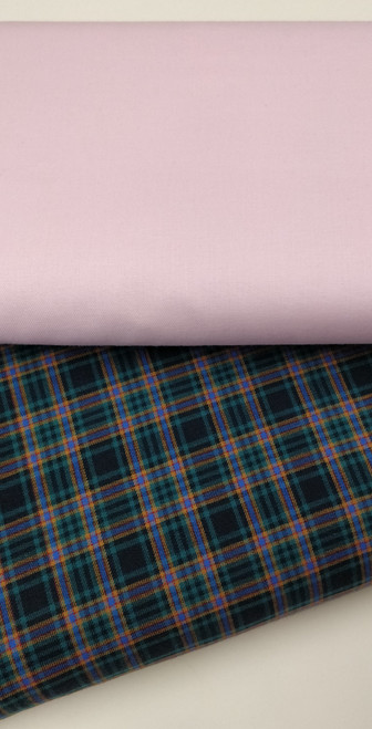A lovely soft brushed cotton tartan, Irving design, 145 cm wide, Wash at 30 degrees, Priced per metre, Ideal for for winter dresses, blouses and trousers Shown here with Pink truella