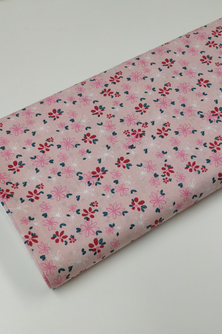 A lovely fresh floral 100% cotton poplin, Available in three colours,  Pink Green or yellow, Ideal for dresses etc 145 cm wide, Wash at 30 degrees, Comes with the OEKO-TEX standard 100 , Priced per metre