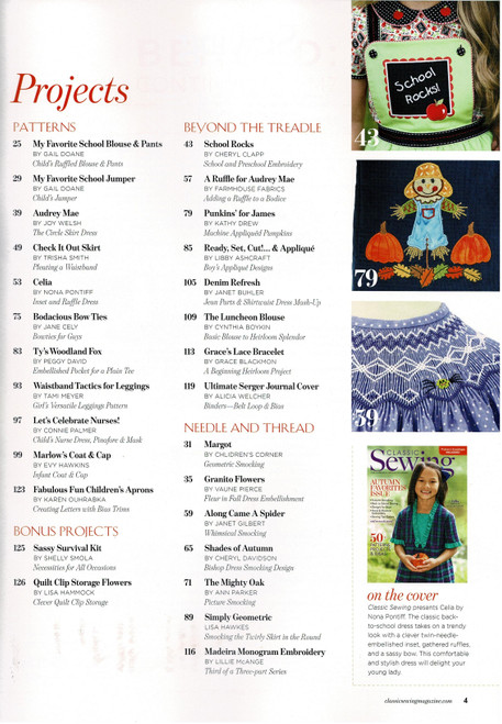 Project list from the Classic Sewing magazine Autumn 2020