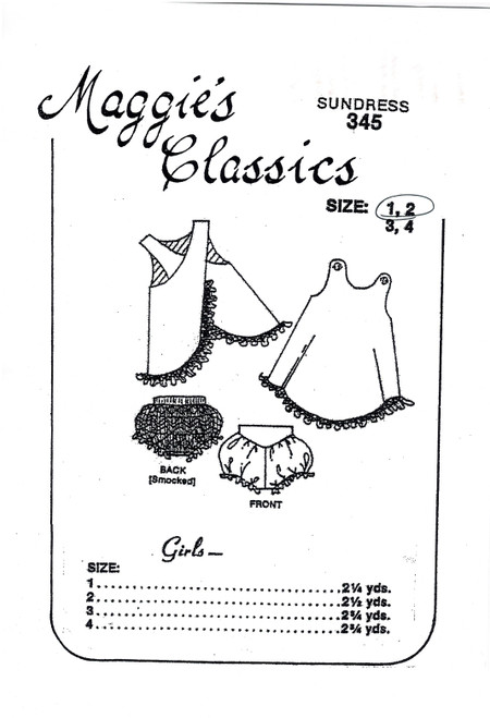 Sundress pattern 345 by Maggie's Classics, Pattern includes a wrap over sundress, Smocked Knickers, Size 1 and 2 years, Very basic instructions, Some experience needed, Fit should be good though