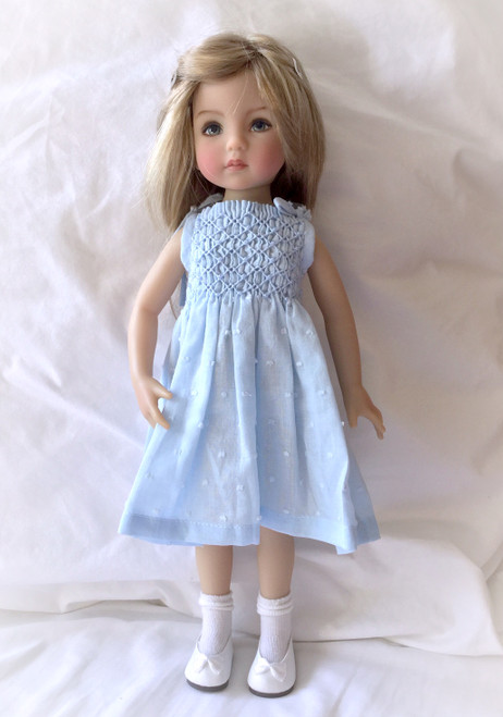 "Downloadable pattern for, Smocked sundress with tie straps for the, Little Darling and Les Cheries dolls, Suitable for a Dianna Effner 13"" Little Darling doll Will also be available as kit"