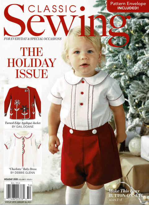 Classic Sewing Magazine Holiday issue 2020, Full of super Christmas ideas and projects, Patterns included for, Faux Button on suit, lace slip dress and Baby dress, Projects include, Christmas smocking designs, Christmas picture smocking, Rick rack candy canes, Christmas ornaments, Organza flowers, Appliques, Cutwork wrap, Lace work and more,