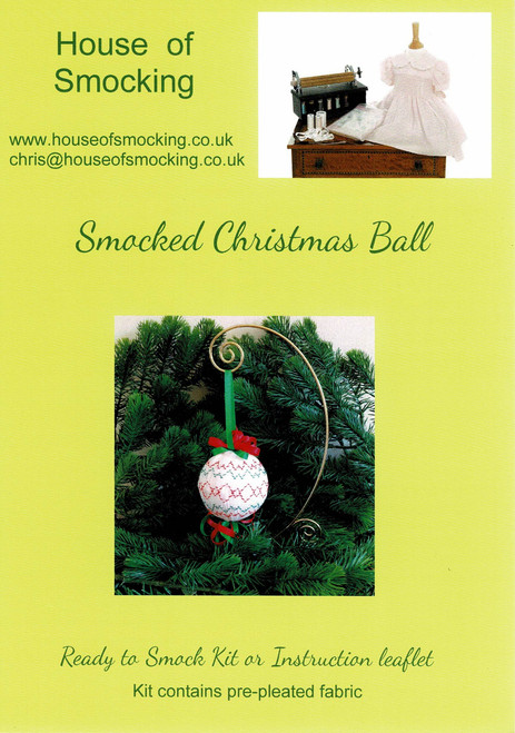 "Downloadable instructions for a Christmas Ball, Instructions include , Step by step instructions, Smocking design, Suitable for a 3"" (7.5 cm) polystyrene ball"