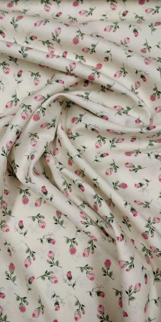 Rose & Hubble cotton poplin with ivory background and pink rose design