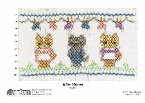 Kitty Mitten smocking plate by Ellen McCarn, Pretty design with pegged out mittens, Uses DMC  Borders Blue 334. green 954, Grey318, yellow 727 Boy Med Grey 414, light grey 318 Overalls Blue 334, Pockets blue 322 Girls Med Tan 437, light tan 739 Dresses White, pink 3326, lavender 554 Eyes green 943, black 433, for girls and 413 for boys
