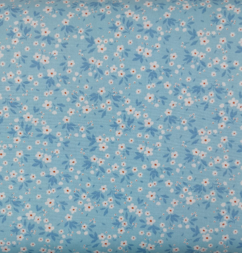 A really pretty blue floral fabric, 100% cotton poplin, Ideal for dresses, skirts, blouses and more, 112 cm wide, Thread and piping suggestions shown Priced per metre, Wash at 30 degrees