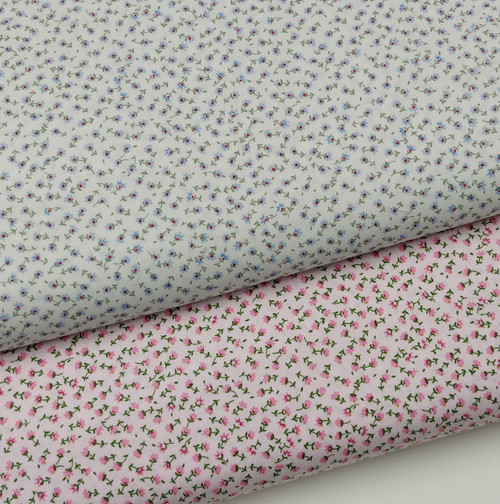 A really pretty fabric available in two colour combinations, White with tiny blue flowers, Pink with tiny pink flowers, 100% cotton , 112 cm wide, Ideal for dresses, skirts, blouses etc, Wash at 30 degrees, Priced per metre