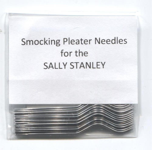 Smocking Pleater Needles suitable for the Sally Stanley Smocking Pleater - if in doubt please send one of your old needles for me to match, Pack of 24 Smocking pleater needles. See attached video on how to fit these needles These needles no longer work with the Amanda Jane or Super Amanda