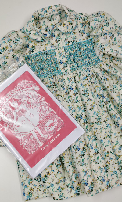 Pattern show here made up in the Turquoise and cream brushed cotton