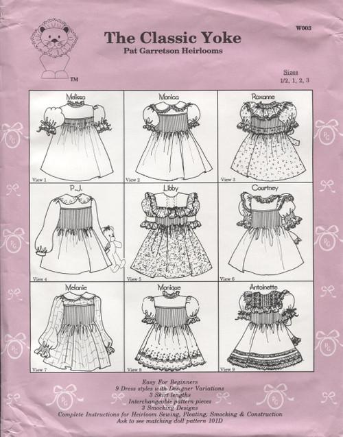 The Classic Yoke Pattern size 4yrs to 6yrs by Pat Garretson