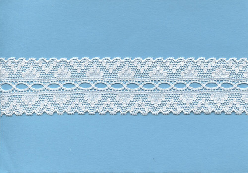 Ribbon hole lace in white or off white 3.5 cm wide
