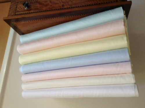 100% Pima Cotton Satin Batiste in 7 colours, ideal for Antique Dolls clothes  and baby wear - 115 cm wide priced per metre - Batiste means a fine light cotton fabric