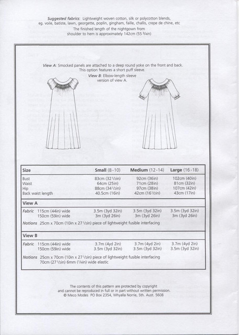 Alice Smocked Nightgown fabric requirments