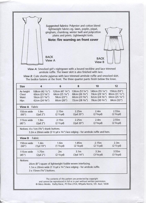 Leigh Girl's Smocked Nightgown fabric requirements