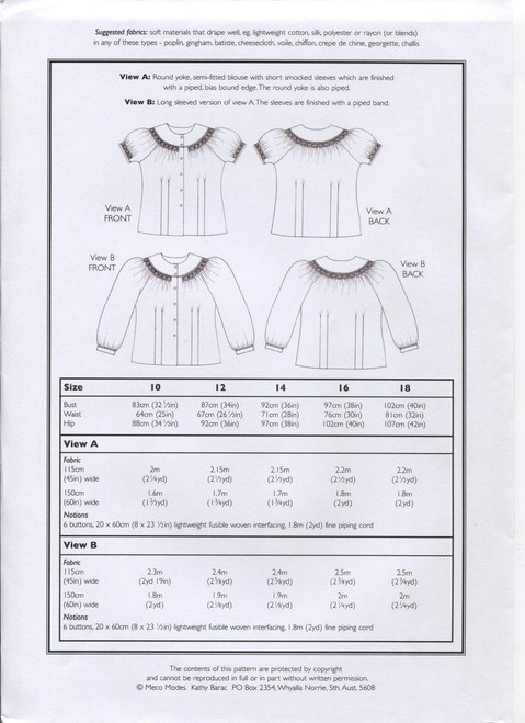 Kylie Round Yoke Shirt fabric requirements