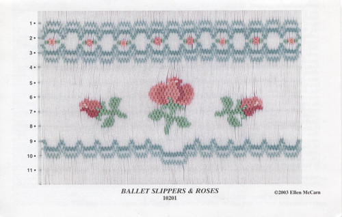 Smocking Plate Ballet Slippers & Rose by Ellen McCarn