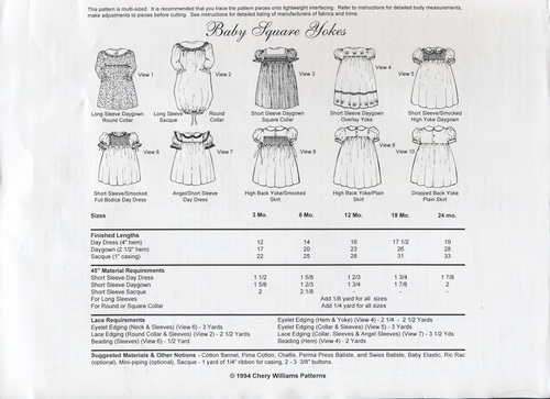 Back Cover Baby Square Yoke by Chery Williams, pattern needs to be traced onto tissue paper or similar for the size you need