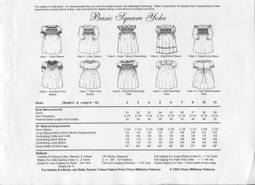 Notions for Basic Square Yoke Dress Pattern By Chery Williams