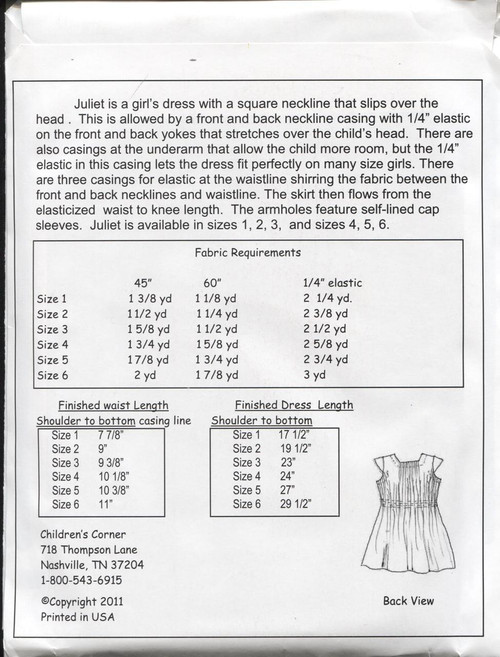 Juliet Sewing Pattern Notions by Children's Corner
