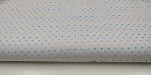 A beautiful quality Swiss 100% cotton with pastel multi coloured cut spots, Makes into stunning little girl's , dresses, blouses, nightwear and more, 140 cm wide, Priced per metre, The Blue Pique is a great match for a coat, The Pink Crocus, Lemonade and Shadow Blue piping cords match this fabric, Wash at 30 degrees, priced per metre, telephone for part metres