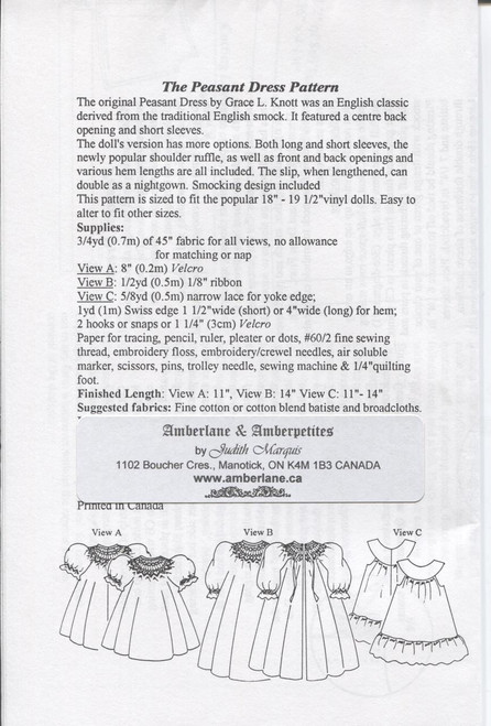Doll Smocked Peasant Dress Pattern Notions by Judith Marquis