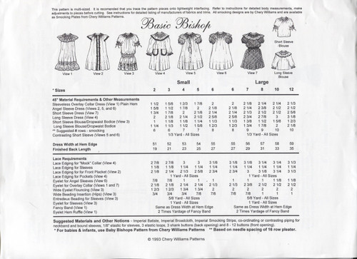 Basic Bishop Smocking Pattern by Chery Williams - Notions