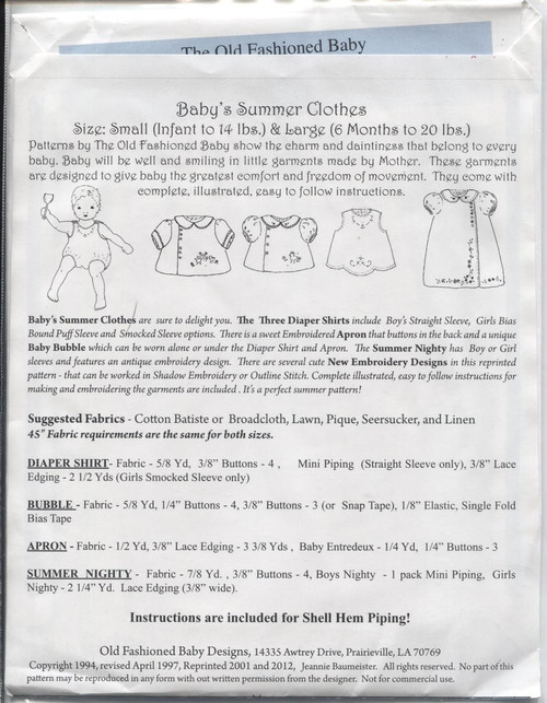 Baby's Summer Clothes by The Old Fashioned Baby - Notions
