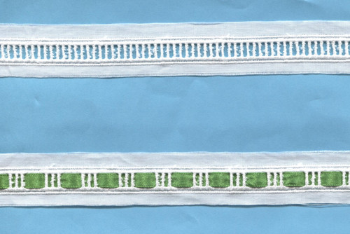 Swiss wide entre deux suitable for 5 mm ribbon - sold per metre shown here with ribbon threaded through every third hole