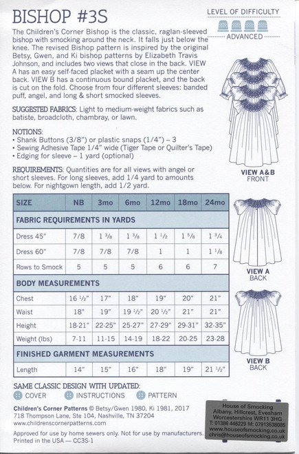 Bishop dress 0-24 months - notions